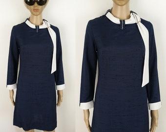 60s Mod Scooter Dress Tie Collar Stewardess Vintage Shift Dress / size S M small medium