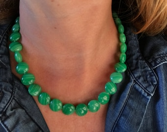 Handmade Minimalist Necklace with Magnetic Clasp and Green Czech Glass Coin Beads