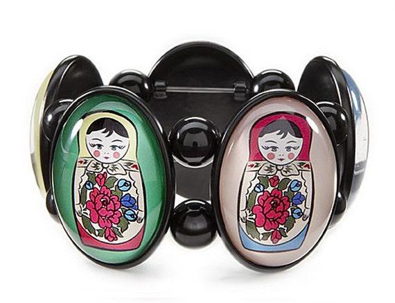 Matroyshka Black Five-Cameo Stretch Bracelet