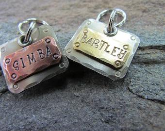 Small Pet Tag - Pet ID Tag - Collar Tag -  Mixed Metals Copper, Brass, or Nickel  Dog id Tag - Dog collar tag - dog harness tag -  Cat tag