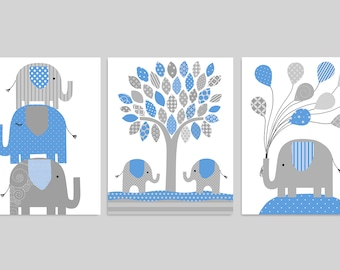 Elephant Nursery Decor, Baby Boy Nursery, Blue and Grey Boy's Room Decor, Baby Room Decor, Nursery Wall Art, Canvas Nursery Art, Baby Decor