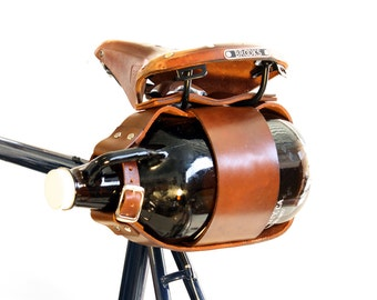 Bicycle Mounted Leather Growler Carrier - Lite