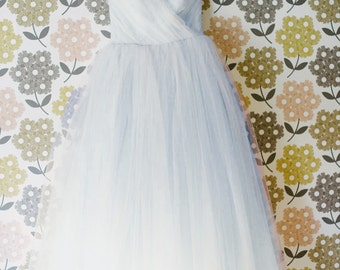 Pale Blue Tulle Wedding Dress - Vintage Style Ball Gown - Kristine Style