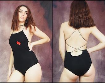 Flower Bodysuit Black Strappy Back Alternative Fashion Criss Cross Back Stripper Outfit Women's Festival Clothing Low Cut Back Clubbing Goa