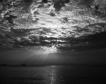 Black and White, Sunset, Photography, Print, Wall art, Ocean, Sea,