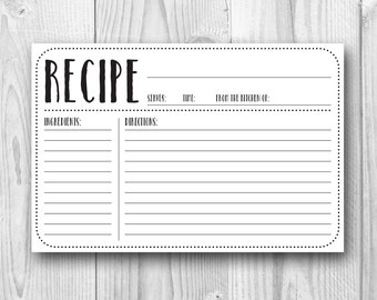 Printable Recipe Card - 4x6 Recipe Card - Plain - Kitchen Decor - Kitchen Printables - Bridal Shower Printables