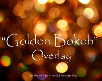 Christmas Bokeh Overlay, New Year Overlay, Overlay, Gold