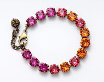 Pink Bracelet, Pink Crystal Bracelet, Tangerine Orange Bracelet, Swarovski Bracelet, Hot Pink Rhinestone Bracelet, Pink Crystal Jewelry Giza