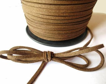 1 m x 3mm Brown cord suede