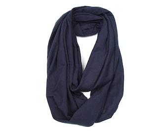 Infinity Scarf, Navy Blue Scarf, Blue Scarf, Blue Circle Scarf, Dark Blue Infinity Scarf, Boyfriend Gift, Soft Jersey Cotton Scarf