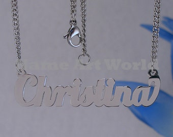 Christina name necklaces. stainless steel. next day ship. never tarnishes. shiny silver color