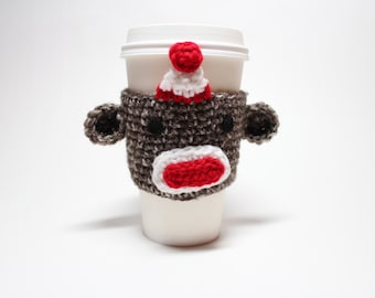 Coffee Cozy,  Sock Monkey, Coffee Sleeve, Crochet Animal Can Holder, Drink Cup Holder, Java Jacket