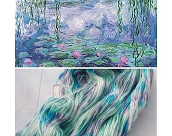 100g DK Hand dyed Watercolours Speckled Skeins white blue mauve green purple yarn wool nylon double knit hand dyed indie yarn speckled