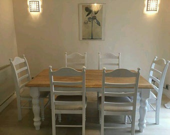 Gorgeous 6ft Table and Chair Set - White/Cream/Grey/Off White Finish