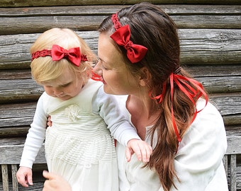 Mommy and Me Christmas Headbands, Mom and Baby Matching Bows, Red Bows for Baby and Mommy, Red Bow Baby Head Band, Mommy and Me Matching Set