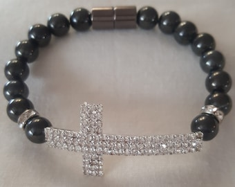 High Gauss Magnetic Therapy Beaded Bracelet Cross
