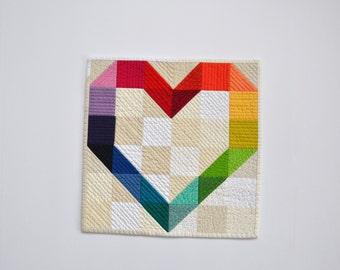 Rainbow Mini Quilt, Heart Quilt, Heart Wall Hanging, Rainbow Heart, Rainbow Wall Hanging, Valentines Day