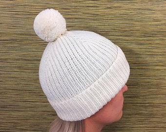 White knitted winter hat with pompom winter hat women winter hat men beanie ski