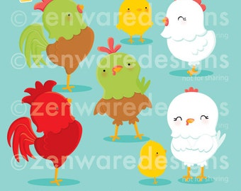 Chicken and Rooster Clipart
