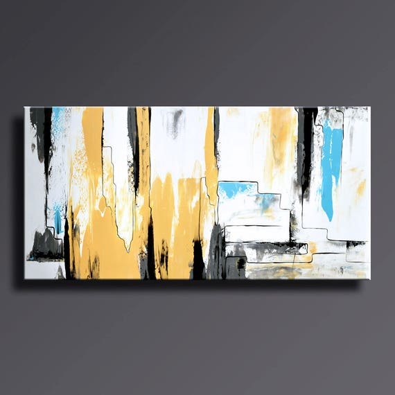 ABSTRACT PAINTING Yellow Gray White Black Blue Painting