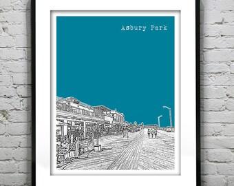 20% OFF Memorial Day Sale - Asbury Park New Jersey Shore Skyline Poster Print Art NJ Jersey Shore