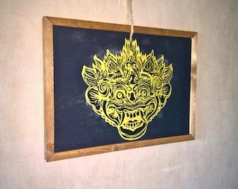 Bali Barong, Painting on Slate - 33 * 48cm