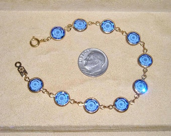 Vintage Swarovski Blue Bezel Set Crystal Bracelet 1970's Signed With Old Edelweiss Flower Logo 1017