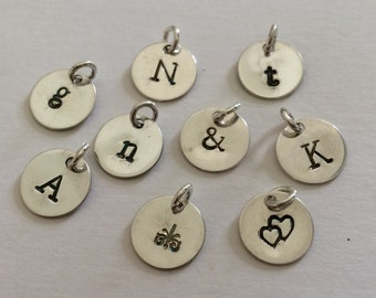 Initial Charm, Hand Stamped, Custom, Personalized