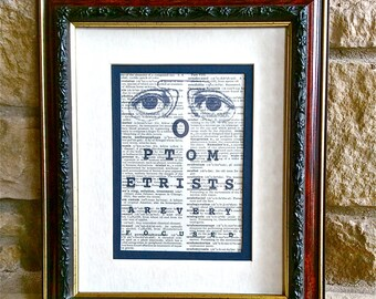 Optometrist Gift - Unique Eye Chart Print on Vintage Dorland's Medical Dictionary Page