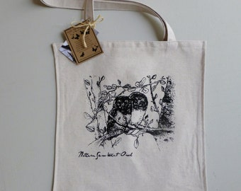 Owl Tote - Hand Printed - Rcycled Fabric