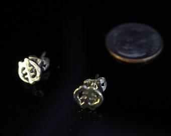 Gye Nyame God First Adinkra Silver Stud Earrings