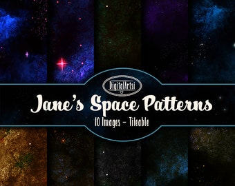 Space Digital Paper Download - Nebula Printables - Instant Download - Seamless Space Nebula Galaxy patterns