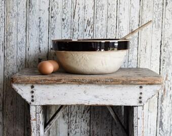 Antique Stoneware Bowl, Vintage Cook Rite Crockery Mixing Bowl, Farmhouse Kitchen, Cottage Decor