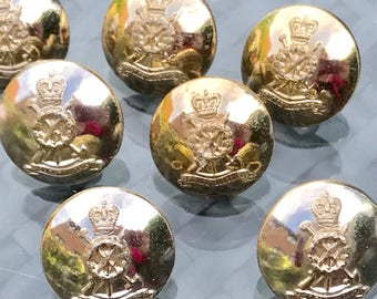 British Military Uniform Button - Stay Bright Finish Loop Back - Royal Pioneer Corps  Queens Crown 1953+ 26mm