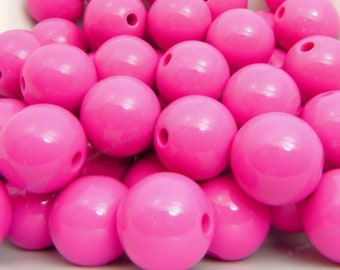 20mm Dark Pink Chunky Bubblegum Beads - 10pcs - Chunky Gumball Beads, Candy Color Beads, Round Acrylic Beads - BR4-3