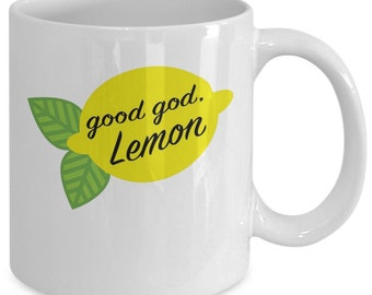 Good god lemon coffee mug cup (white) 11oz funny liz lemon 30 rock tv show series accessories merchandise shirt sticker decal art decor