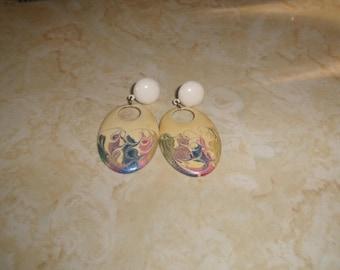 vintage clip on earrings goldtone colorful enamel swirl dangles