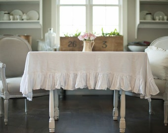 Ruffled Linen tablecloth with a 6 inch ruffle
