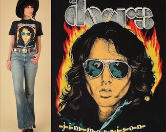 ViNtAgE 80's The Doors Jim Morrison Lizard King T-Shirt // 60's 70's Rock Concert Tee TShirt Black Soft Thin L