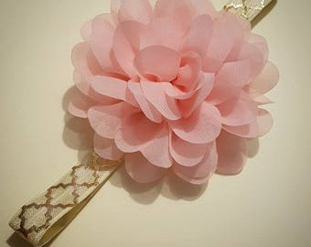 Pink Flower Headband with Cream and Gold Band
