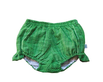 Green Gypsy Boho Bloomers, Baby Bloomers, Baby Girl Bloomers, Butterfly bloomers, green sparkle nappy cover, boho baby girl