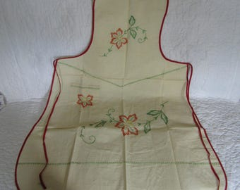 Vintage Apron Cotton Full Embroidered not perfect