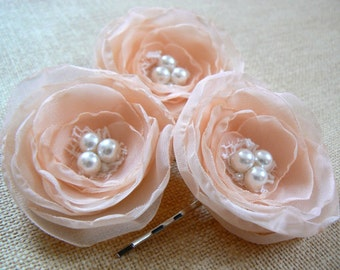 Peach wedding bridal flower hair accessory (3 pcs), bridal hairpiece, bridal hair flower, wedding hair accessories, hairpiece, READY TO SHIP