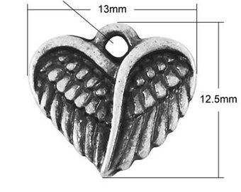 Heart charm wing, silver, 12, 5 mm, set of 20