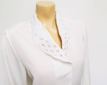 Free Shipping* Vintage Blouse, UK12, Cream Blouse, Secretary Blouse, PinUp, Women's Clothing, White Shirt, Ladies Shirts, Ladies Clothing