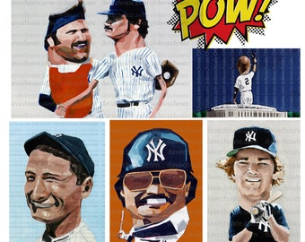 Yankees Value Pack 5 Art Prints for 20 dollars Jeter/Mattingly/Reggie?Gehrig/Munson and Guidry