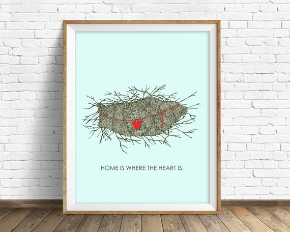 "art print, drawing, ink drawing, birds nest, wall art, large art, wall art prints, typography, nature prints, pastel blue - ""Crow's Nest"""