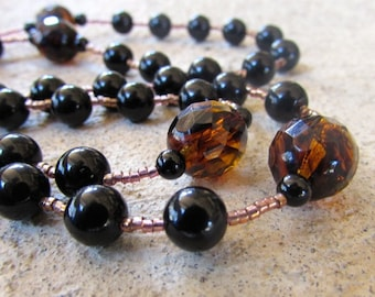 Masculine Rosary from Black Onyx and Brown Quartz Stone: rosaries, men, man, catholic