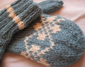 Blue and White Child's Mittens Hand Knit Wool