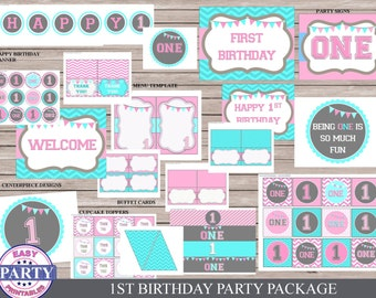 First Birthday Party package, Instant Download, pink and aqua, one year old party, girl party, easily print from home, cupcake